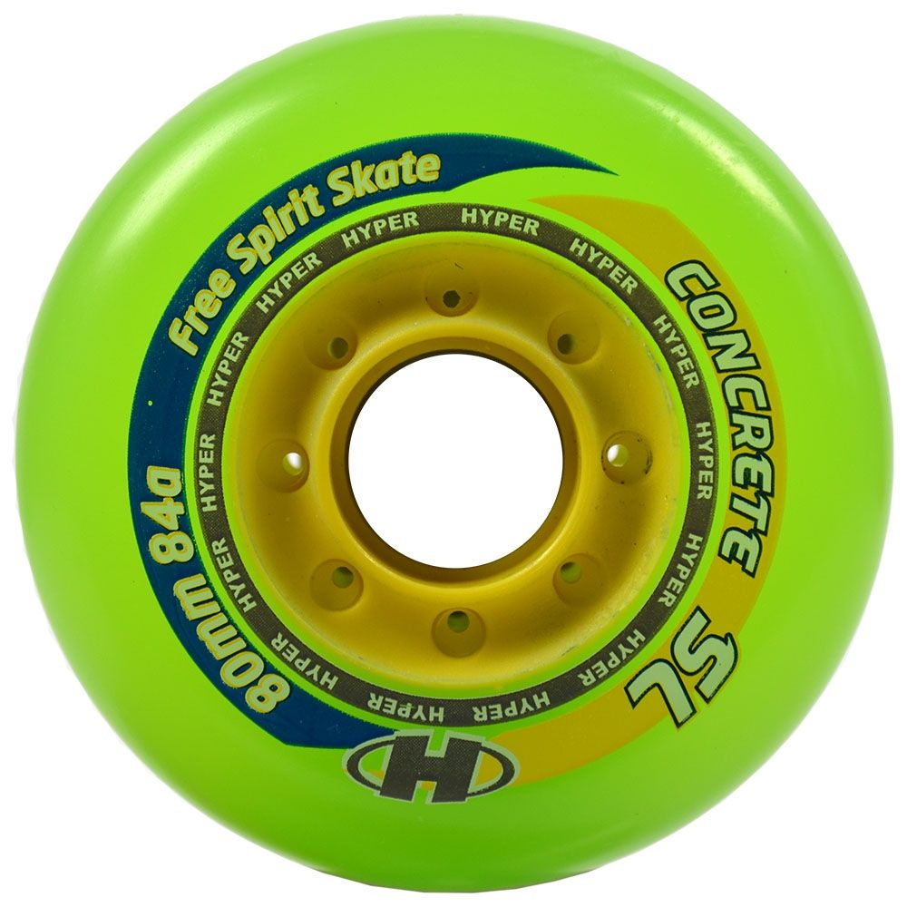 Hyper Concrete SL 80mm/84a Wheels (4 pk) Green / Yellow